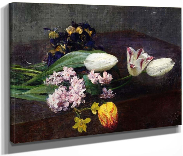 Hyacinth, Tulips And Pansies On A Table By Henri Fantin Latour By Henri Fantin Latour