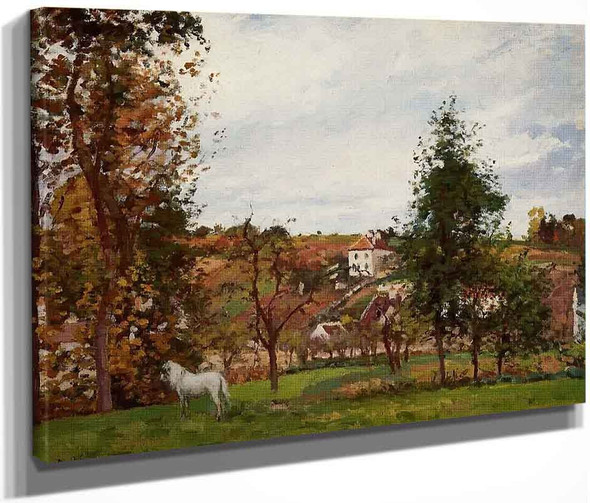 Landscape With A White Horse In A Meadow, L'hermitage By Camille Pissarro By Camille Pissarro