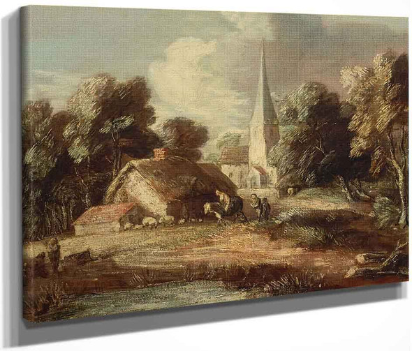 Landscape With Cottage And Church By Thomas Gainsborough  By Thomas Gainsborough