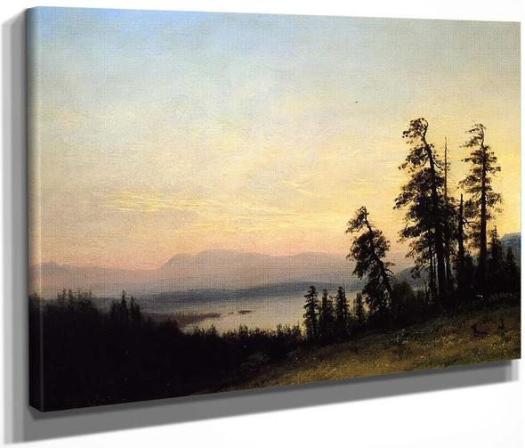 Landscape With Deer, View Of Estes Park, Colorado By Albert Bierstadt By Albert Bierstadt