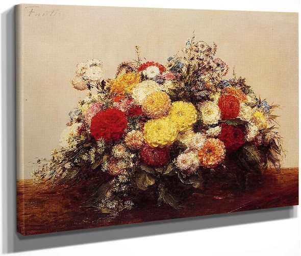 Large Vase Of Dahlias And Assorted Flowers By Henri Fantin Latour By Henri Fantin Latour