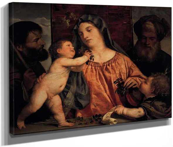 Madonna Of The Cherries By Titian