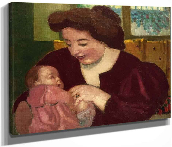 Maternite, Anne Marie Et Marthe A La Bague Ovale By Maurice Denis By Maurice Denis