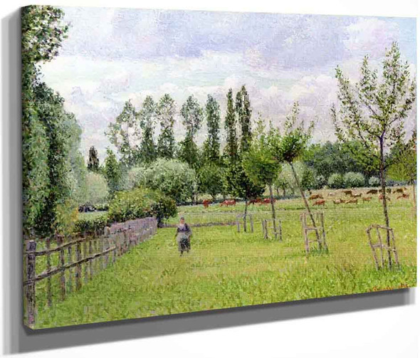 Meadow At Eragny, Grey Weather By Camille Pissarro By Camille Pissarro