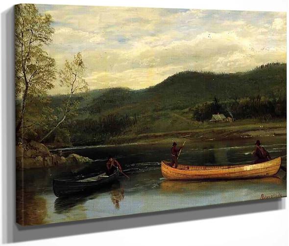 Men In Two Canoes By Albert Bierstadt By Albert Bierstadt