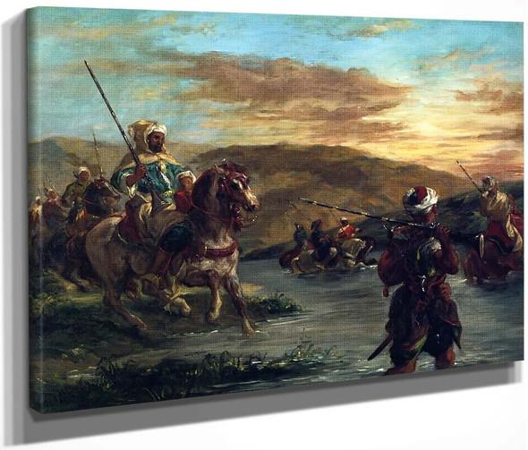 Moroccan Troops Fording A River By Eugene Delacroix By Eugene Delacroix