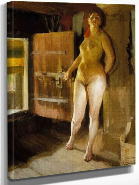 At The Door Of The Loft By Anders Zorn