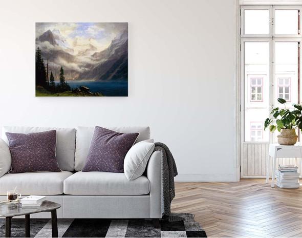 Mountain Scene By Albert Bierstadt By Albert Bierstadt