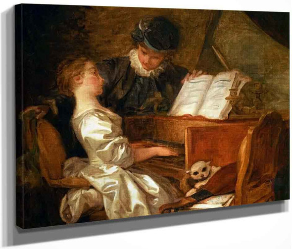 Music Lesson By Jean Honore Fragonard  By Jean Honore Fragonard