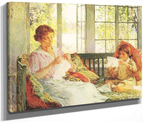 My Wife And Daughter By Willard Leroy Metcalf By Willard Leroy Metcalf