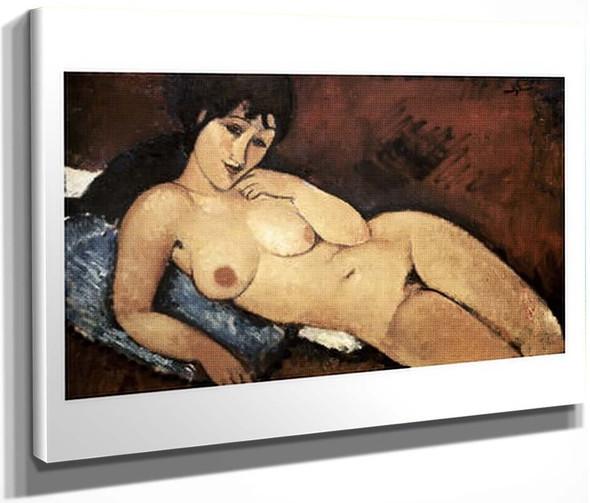 Nude On A Blue Cushion By Amedeo Modigliani By Amedeo Modigliani