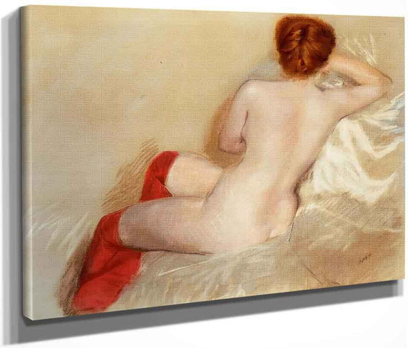 Nude With Red Stockings By Giuseppe De Nittis By Giuseppe De Nittis