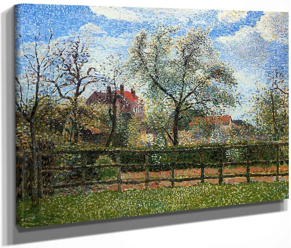 Pear Tress In Bloom, Eragny, Morning By Camille Pissarro By Camille Pissarro