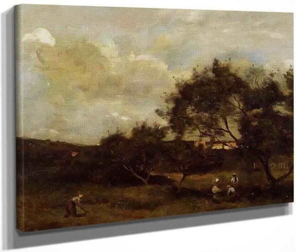 Peasants Near A Village By Jean Baptiste Camille Corot By Jean Baptiste Camille Corot