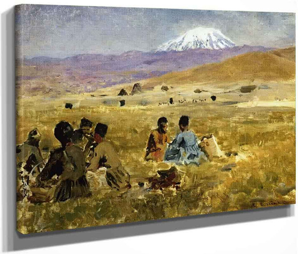Persians Lunching On The Grass, Mt. Ararat In The Distance By Edwin Lord Weeks