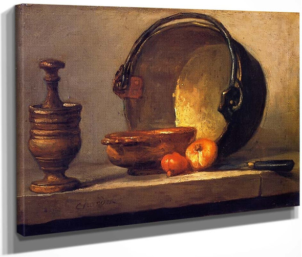 Pestle And Mortar, Bowl, Two Onions, Copper Pot And Kettle By Jean Baptiste Simeon Chardin By Jean Baptiste Simeon Chardin