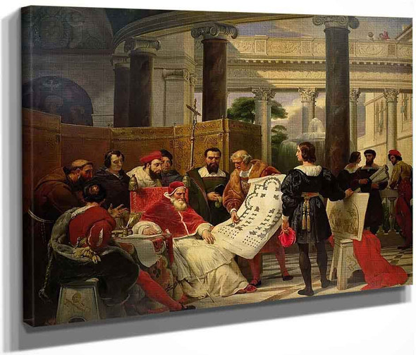 Pope Julius Ii Ordering Michelangelo, Bramante, And Raphael To Construct The Vatican By Horace Vernet