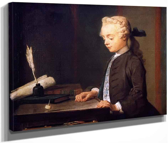 Portrait Of The Son Of M. Godefroy, Jeweller, Watching A Top Spin By Jean Baptiste Simeon Chardin