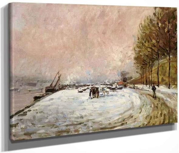 Quai Saint Bernard In The Snow By Armand Guillaumin