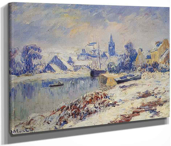 Quimper, Lake Marie In The Snow By Henri Moret By Henri Moret