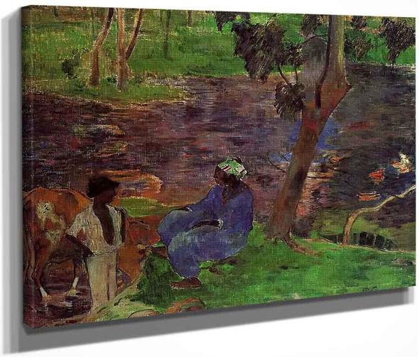 Riverside By Paul Gauguin  By Paul Gauguin