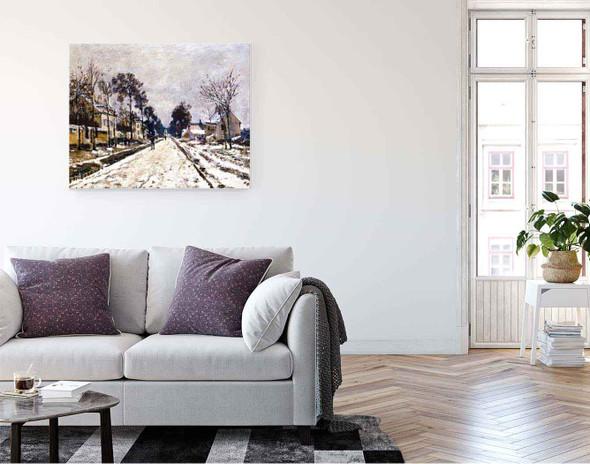 Road At Louveciennes, Snow Effect By Claude Oscar Monet