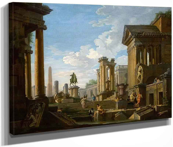 Roman Ruins And Figures By Giovanni Paolo Panini By Giovanni Paolo Panini