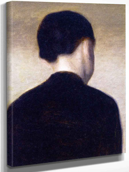 Back View Of A Young Girlanna Hammershoi By Vilhelm Hammershoi  By Vilhelm Hammershoi