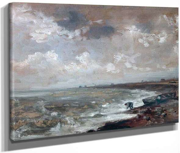 Seashore With Fishermen Near A Boat By John Constable By John Constable