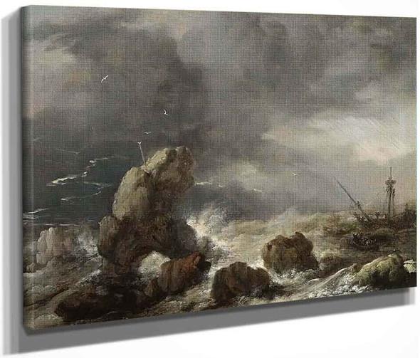 Ships Foundering In Stormy Seas By Philips Wouwerman Dutch 1619 1668