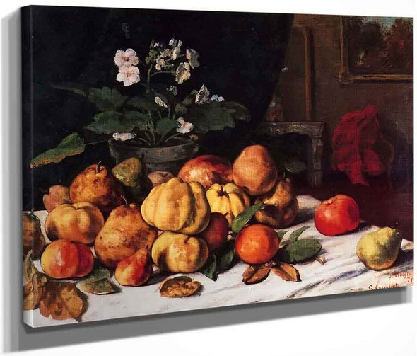 Still Life Apples, Pears And Primroses On A Table By Gustave Courbet By Gustave Courbet