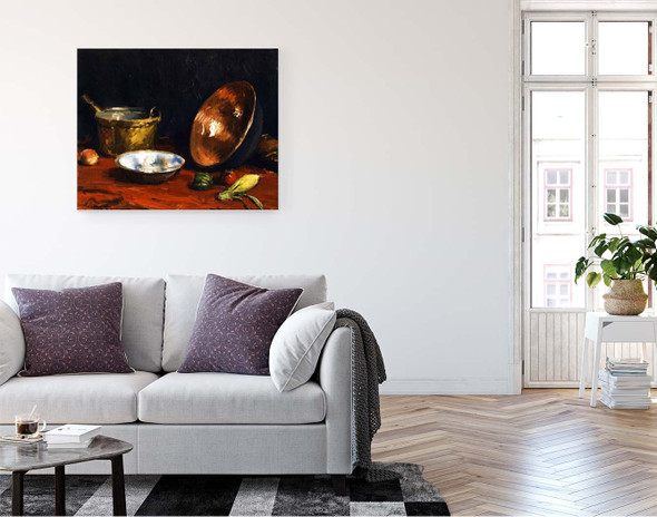 Still Life Pans And Vegetables By William Merritt Chase By William Merritt Chase