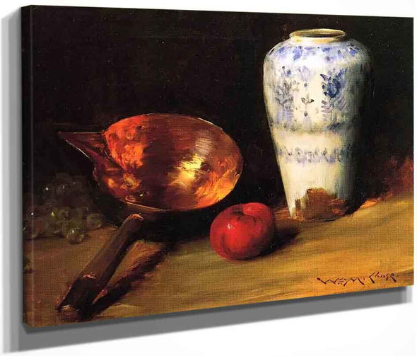 Still Life With China Vase, Copper Pot, An Apple And A Bunch Of Grapes By William Merritt Chase By William Merritt Chase