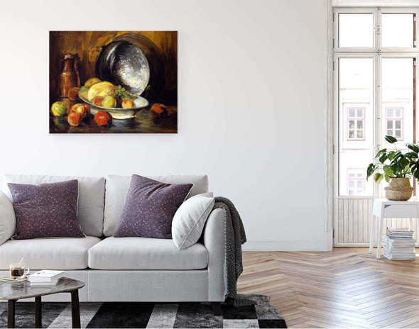 Still Life With Fruit And Copper Pot By William Merritt Chase By William Merritt Chase