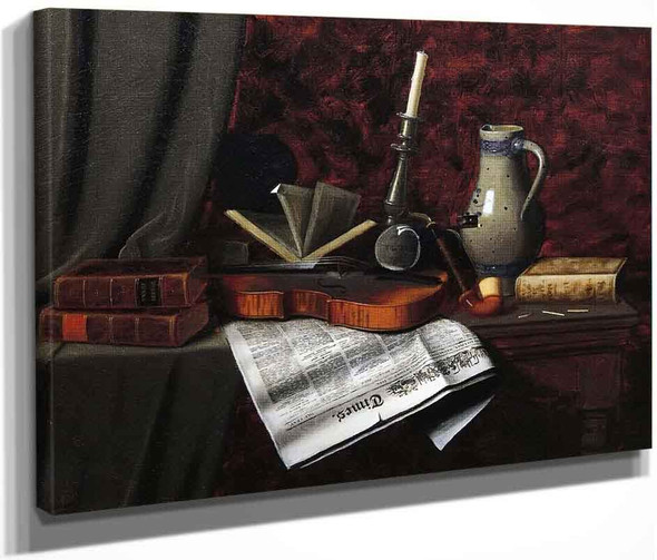 Still Life With Violin By William Michael Harnett  By William Michael Harnett