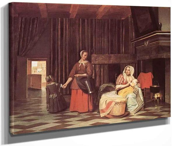 Suckling Mother And Maid By Pieter De Hooch