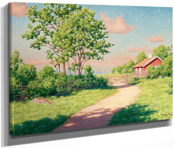 Summer Landscape With Red Cottage By Johan Krouthen By Johan Krouthen