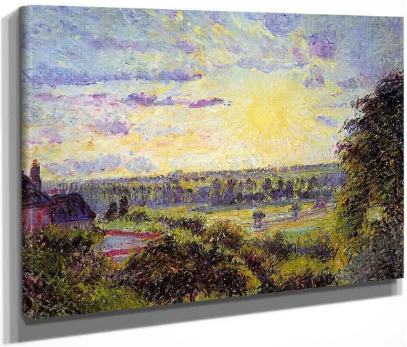 Sunset At Eragny2 By Camille Pissarro By Camille Pissarro