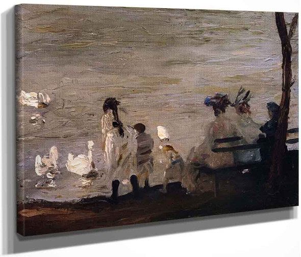 Swans In Central Park By George Wesley Bellows By George Wesley Bellows