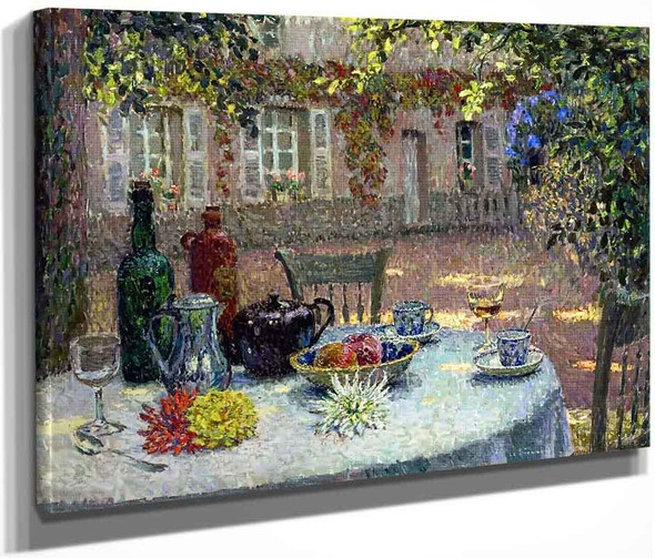 Table With Dahlias By Henri Le Sidaner By Henri Le Sidaner