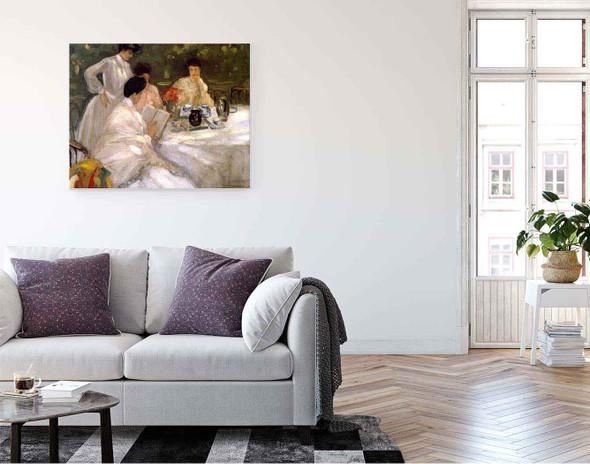 Tea In The Garden By Frederick Carl Frieseke By Frederick Carl Frieseke