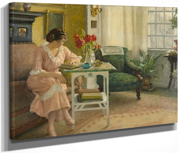 The Artist's Wife Reading At Home On Sofievej By Paul Gustave Fischer By Paul Gustave Fischer