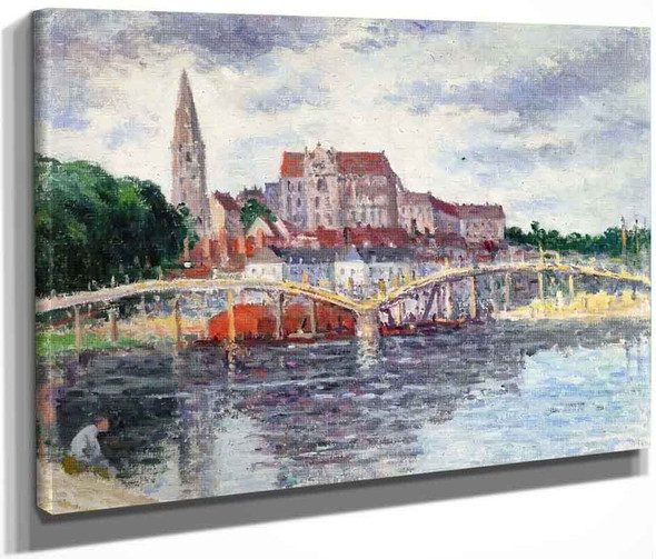 The Bridge Over The Yonne And The Cathedral By Maxime Maufra By Maxime Maufra