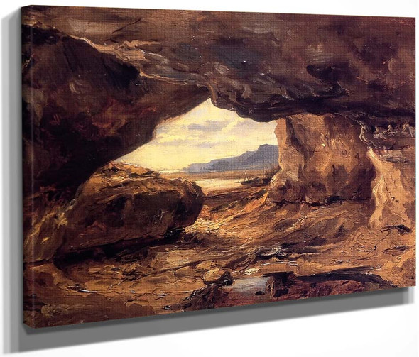 The Cave In A Cliff Near Granville By Theodore Rousseau