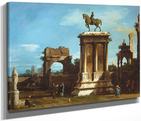 The Colleoni Monument In A Caprice Setting By Canaletto By Canaletto