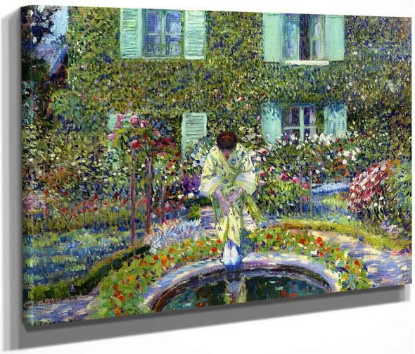 The Garden Pool By Frederick Carl Frieseke By Frederick Carl Frieseke