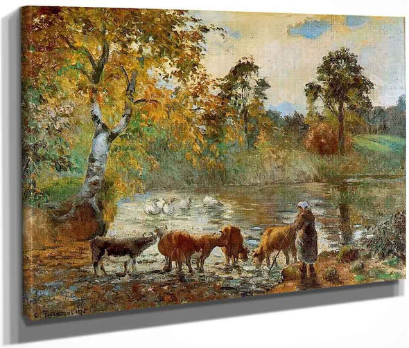 The Pond At Montfoucault1 By Camille Pissarro By Camille Pissarro