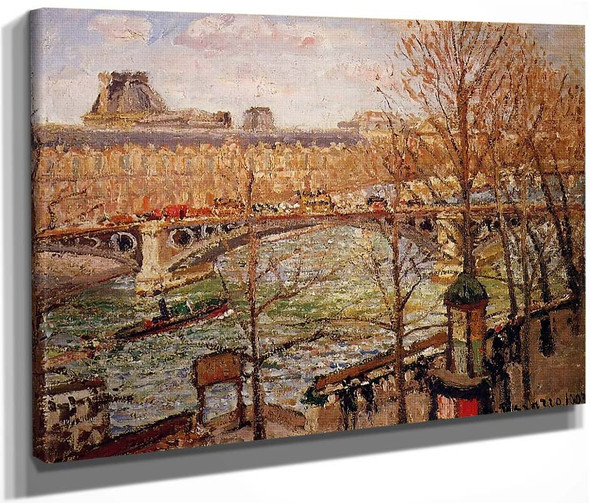 The Pont Du Carrousel, Afternoon By Camille Pissarro By Camille Pissarro