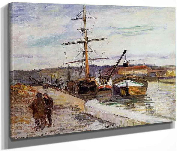 The Port Of Rouen By Camille Pissarro By Camille Pissarro