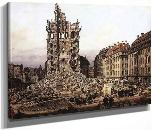 The Ruins Of The Old Kreuzkirche In Dresden By Bernardo Bellotto